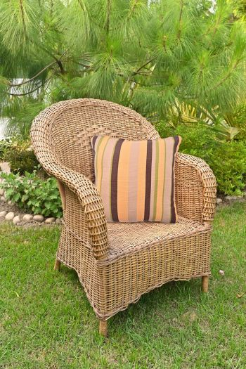 Stripe Reversible Outdoor Cushion Cover, Yellow & Brown