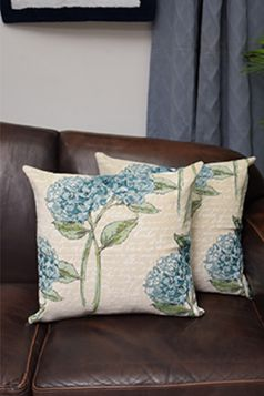 Hydrangea Cushion Covers, Set of 2, Blue, Green & Beige