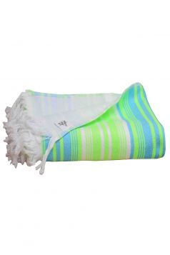 Hammam Pool & Beach Fringed Towel, Blue & Yellow